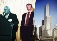 Architect Adrian Smith and Donald Trump unveil renderings of Trump Tower Chicago at a news conference in 2003 (Credit: Getty Images)