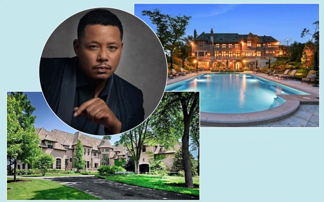 "45 Lakeview Lane, Barrington Hills with Terrance Howard as Lucious Lyon on ""Empire"" (Credit: Wikipedia and Pricey Pads)"