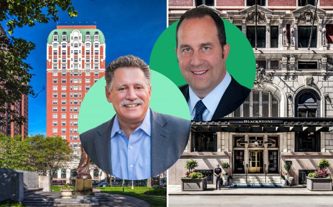 Sage Hospitality CEO Walter Isenberg (left) and Fundamental Advisors CEO Laurence Gottlieb with the Blackstone Hotel at 636 South Michigan Avenue