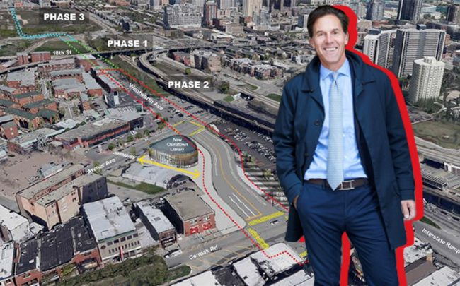 Related Midwest President Curt Bailey and a map of Wells-Wentworth Connector (Credit: City of Chicago)