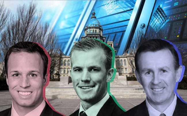 From left: Andy Svengros, VP for Midwest data centers at JLL, Tyler Diers, lobbyist for Illinois Chamber of Commerce, and A.J. Matel, VP of sales for ServerFarm