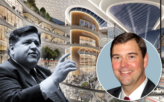 From left: J.B. Pritzker, Bob Dunn and a rendering of the transit hub (Credit: Getty Images)