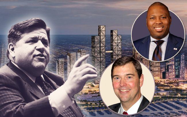 From left: J.B. Pritzker, Bob Dunn, Kam Buckner, and a rendering of the One Central megadevelopment (Credit: Glessner House)