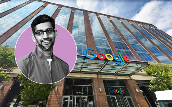 Google CEO Sundar Pichai and Google's Midwest headquarters in Fulton Market (Credit: Getty Images and Google Maps)