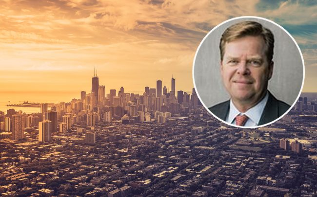 Michael Larsen and an aerial view of Chicago (Credit: Linkedin, iStock)