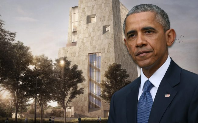 Barack Obama and a rendering of the Obama Presidential Center (Credit: Getty Images)