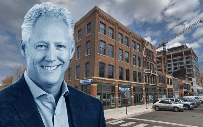 Tucker Development CEO Richard H. Tucker and 900 West Randolph Street (Credit: Google Maps)