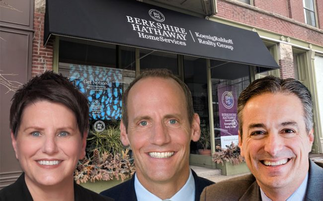 Diane Glass, Joe Stacy and Mark Pasquesi with Berkshire Hathaway's Lincoln Park office