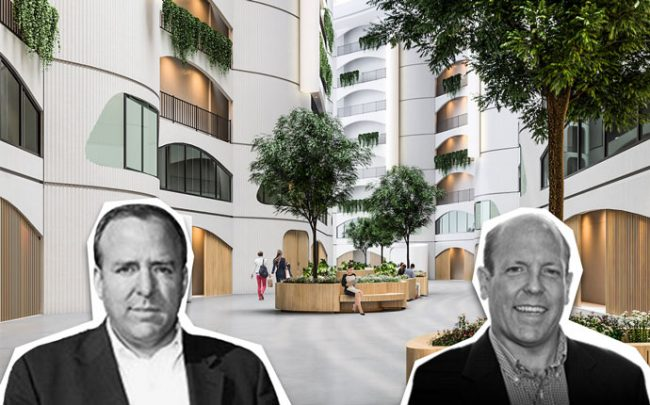 Alderman Brendan Reilly (42nd), Alderman Harry Osterman (48th), and a rendering of The River City Apartments, a former condo deconversion