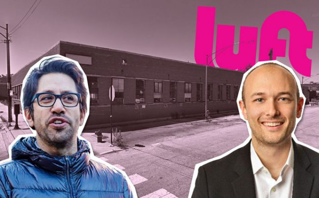 From left: Shapack Partners' Jeff Shapack, and Lyft CEO Logan Green with 1020 North Elston (Credit: Google Maps and Twitter)