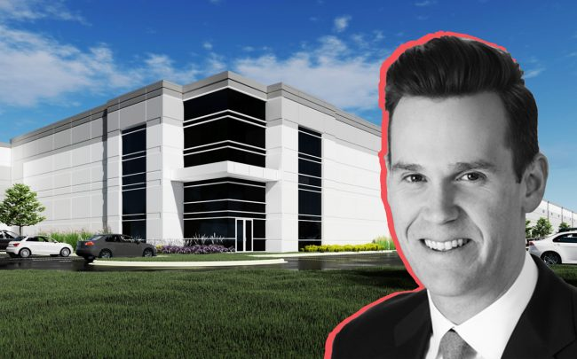 Logistics Property Company Executive Vice President Aaron Martell and renderings of the company's planned Addison warehouse project. (Credit: Logistics Property Company)