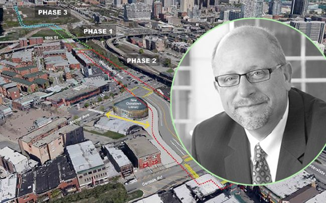 Don Biernacki, Related Midwest's senior vice president and a map of Wells-Wentworth Connector (Credit: City of Chicago)