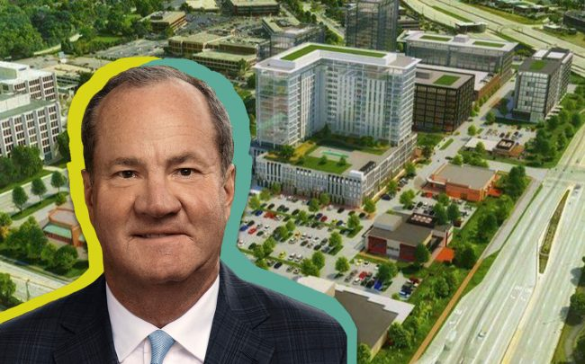 Jeff Hines and the planned Oak Brook Commons development (Credit: Hines)
