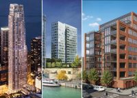 From left: One Bennett Park, 403 North Wabash Avenue, 1109 West Washington Boulevard (Credit: Related and Redfin)