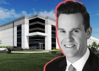 Logistics Property Company Executive Vice President Aaron Martell and renderings of the company's planned Addison warehouse project.