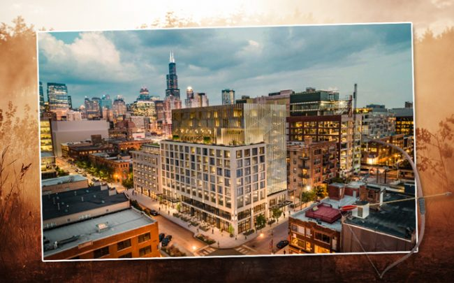Base Capital Group and Hartshorne Plunkard Architecture's plans for a 12-story hotel at 1043 West Fulton Market