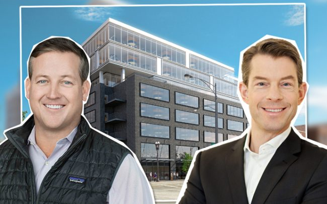 Sterling Bay CEO Andy Gloor, Commerz Real CEO Andreas Muschter and 1330 West Fulton Street (Credit: Sterling Bay and iStock)