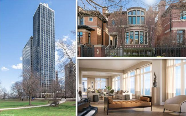 From left, clockwise: 1555 North Astor Street, 1729 West Wolfram Street, and 451 East Grand Avenue