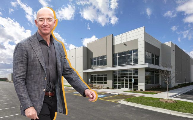 Amazon CEO Jeff Bezos and Hillwood Investment Properties' 3639 Howard Street in Skokie, Illinois (Credit: Getty Images and Hillwood Investment Properties)