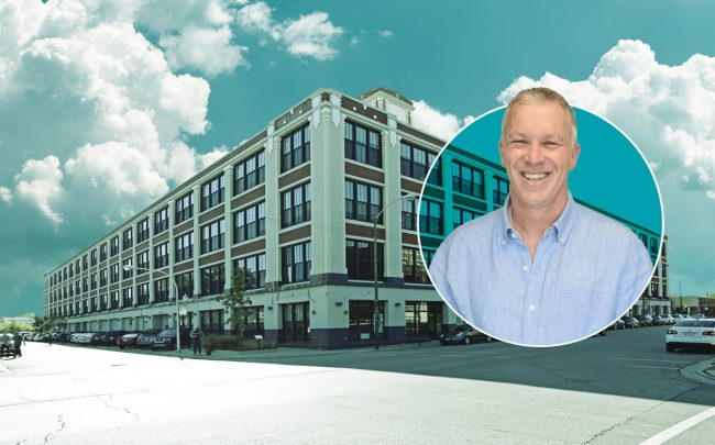 David Baum (inset) and Baum Development has given an unknown partner a $55 million stake in its Green Exchange building. (Credit: Baum Revision and LoopNet)
