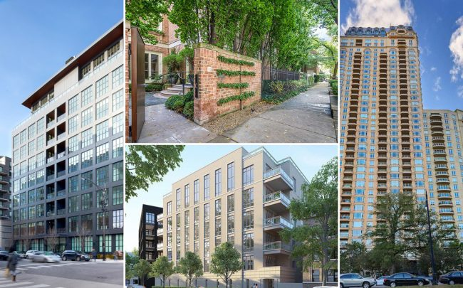 Clockwise from left: 900 West Washington Blvd, 1939 North Howe Street, 2550 North Lakeview Avenue and 2753 North Hampden Court (Credit: Taris Real Estate, Realtor)