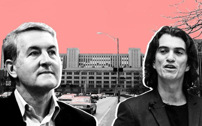 PepsiCo CEO Ramon Laguarta and WeWork CEO Adam Neumann with the Old Post Office (Credit: Getty Images)