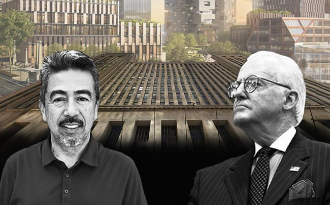 Foreground: Ald. Danny Solis, Ald. Ed Burke. Background: The Old Post Office and a rendering of the 78 development project (Credit: Facebook, Wikipedia, Google Maps)