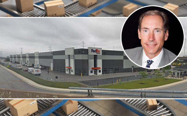 The FedEx distribution center and Cabot Properties CEO Franz F. Colloredo-Mansfield (Credit: Google Maps, iStock)