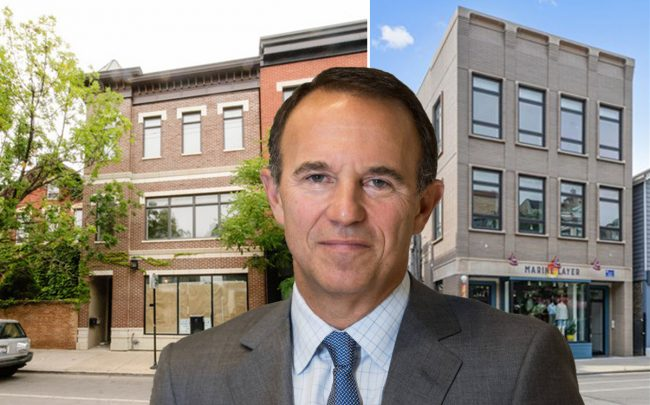Acadia Realty Trust CEO Kenneth Bernstein and 849 (right) and 912 W. Armitage Avenue in Chicago's North Side (Credit: VHT Studios and ICSC)