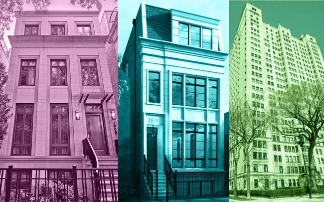 From left: 1905 North Howe, 1830 North Fremont Street, and 1500 North Lake Shore Drive (Credit: Redfin)