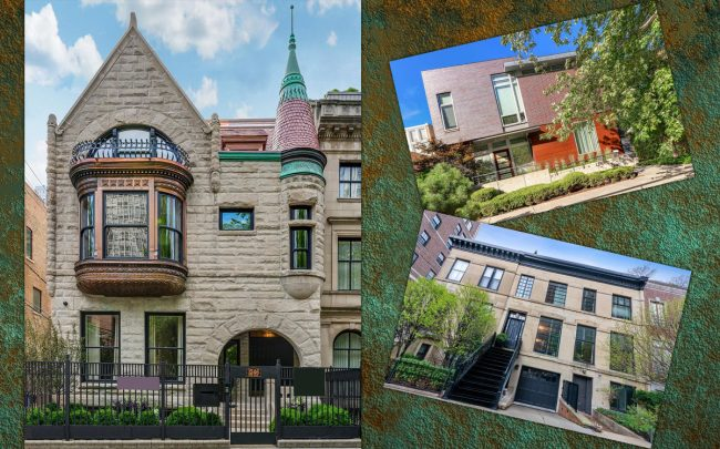 Clockwise from left: 1246 N. Astor Street, 1744 W. Cortland Street, 55 W. Schiller Street (Credit: Redfin)