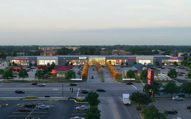 A rendering of the proposed Oak Lawn Commons strip mall
