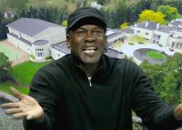 Michael Jordan and an aerial view of his Highland Park property (Credit: Getty Images)