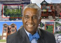 Rev. Leon Finney Jr. and clockwise from top left: 2211 South State Street, 4108 South King Drive, 4123 South Calumet Avenue and 6234 South Woodlawn Avenue (Credit: Google Maps)