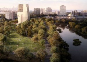 An updated rendering shows an aerial view of the Obama Presidential Center (Credit: Obama Foundation)