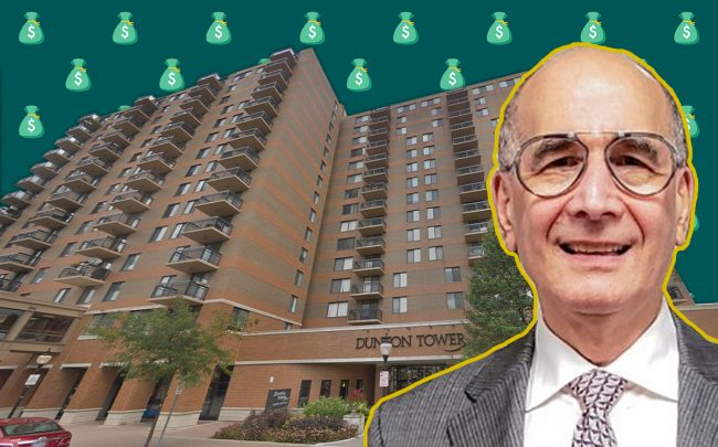 TLC Management CEO Stuart Handler and Dunton Tower in Arlington Heights (Credit: Google Maps, iStock)