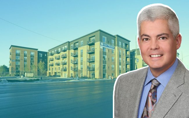 Uptown La Grange apartments at 31 E Ogden Ave and JVM Realty CEO James Madary (Credit: Realtor and JVM Realty)