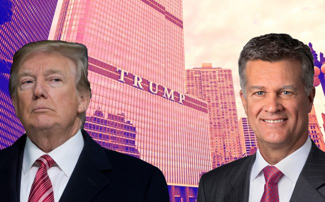President Donald Trump, Trump International Hotel & Tower 401 N. Wabash Avenue and Cushman & Wakefield CEO Brett White (Credit: Getty Images, Cushman and Wakefield)