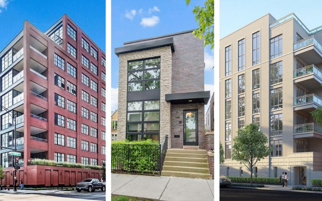 From left: 1109 W. Washington Blvd., 1943 W. Cortland St., 2753 N. Hampden Ct. (Credit: Redfin)
