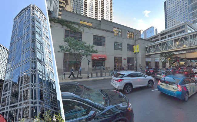77 W. Wacker and 201 N. Clark in the Loop (Credit: Wikipedia, Google Maps)