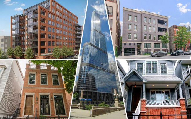 Clockwise from top left: 1109 W Washington Blvd., 1851 N Halsted St., 3223 N Hoyne Ave, 401 N Wabash Ave. and 3453 N Seeley Ave. (Credit: Redfin)