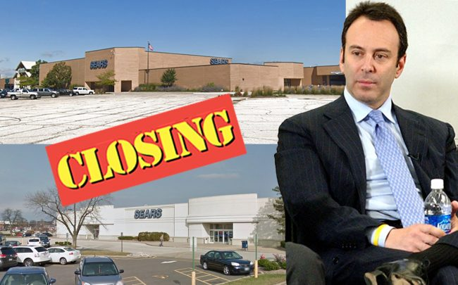 Eddie Lampert and the two closing Sears locations at 5000 Spring Hill Mall (top) and 2200 W War Memorial Drive (Credit: Getty Images, Google Maps)