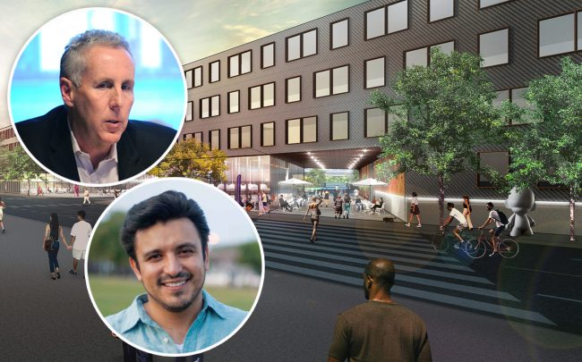 "A rendering of the ""ParkWorks"" site, Ald. Byron Sigcho-Lopez (25th) and PMG's Kevin Maloney (Credit: Getty Images)"
