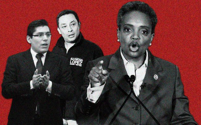 From left: Ald. Carlos Ramirez-Rosa, Ald. Raymond Lopez and Mayor Lori Lightfoot (Credit: Wikipedia, Facebook, Getty Images)