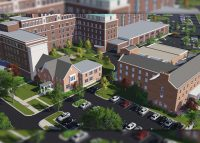 A rendering of the mixed-use Copley Hospital redevelopment in Aurora, Illinois
