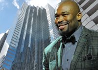 Former NFL player Israel Idonije and 200 W. Madison St. (Credit: Getty Images, Google Maps)