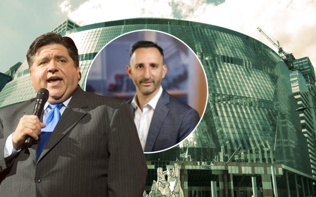 Governor J.B. Pritzker and Ernst and Young's Mike Parker (inset) with the Thompson Center (Credit: Getty Images, Wikipedia, E&Y)