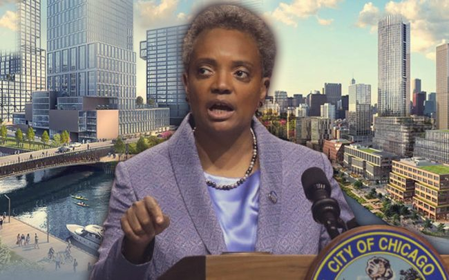 Mayor Lori Lightfoot and renderings of Lincoln Yards and the 78 (Credit: Getty Images)