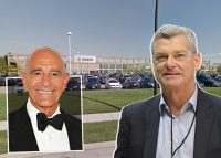 Colony Capital CEO Tom Barrack, Ares Management co-founder and executive chairman Antony Ressler and the Mount Prospect warehouse (Credit: Getty Images and Google Maps)