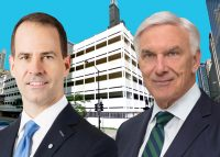 320 South Canal Street, BMO Financial Group CEO Darryl White and Riverside Investment and Development CEO John O'Donnell (Credit: Google Maps, BMO, Riverside Investment)